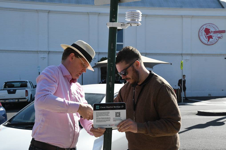 Two gentlemen and one of the city weather stations