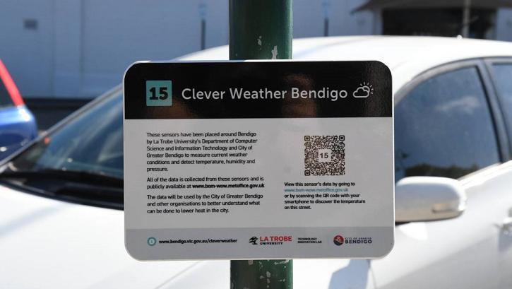 Close-up of Clever Weather Bendigo sign