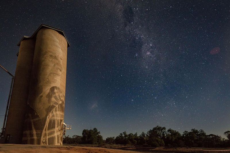 Silo Art Trail under night sky